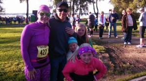 My husband and girls with me before the race--only 42 degrees at 8:05am.